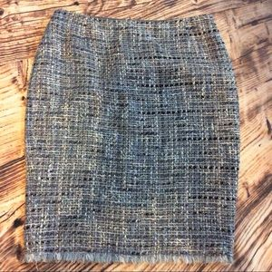 Highly Textured Fringed Boucle Tweed Skirt